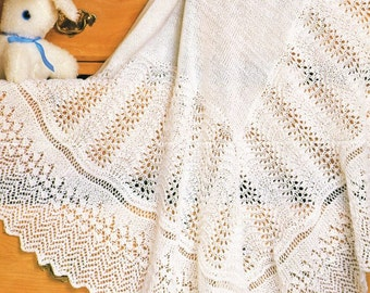 baby lace  shawl vintage knitting pattern PDF instant download