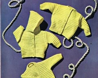 Templetons 1404 baby cardigan  hoodie vintage knitting pattern PDF