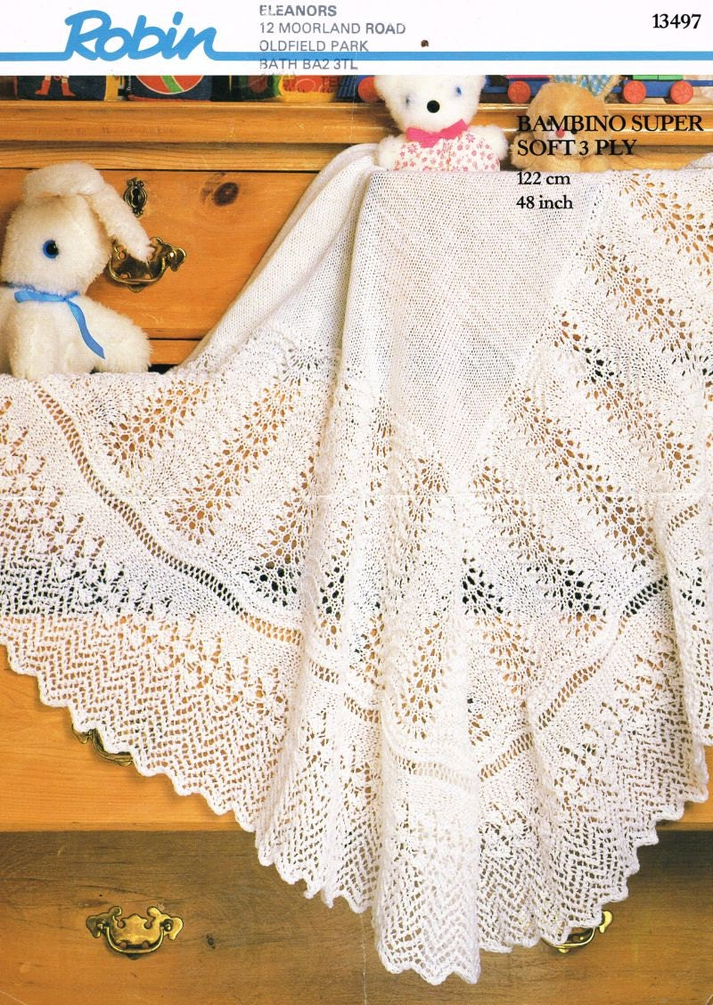Vintage Baby Shawl Knitting Patterns : baby lace shawl vintage knitting pattern PDF instant download