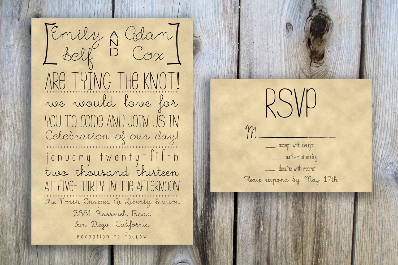 Printable Wedding Invitation Amp RSVP Card Set Package Hand Drawn Rustic Casual Custom