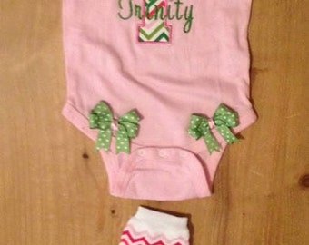 Pink and Green Chevron Baby Bodysuit, Leg Warmer, and Headband Set