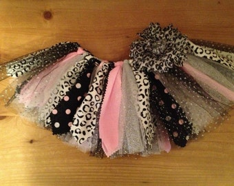 Pink, Silver, and Snow Leopard Scrap Fabric Tutu