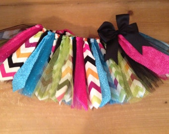 Jewel Tone Chevron Scrap Fabric Tutu