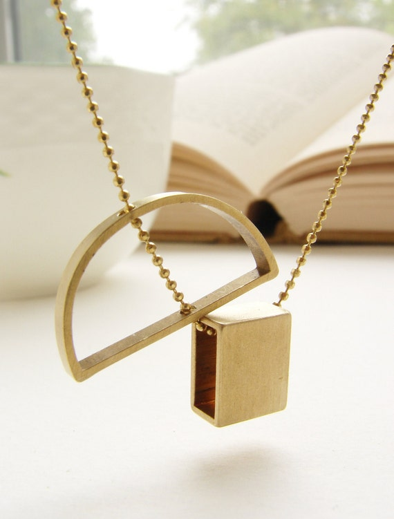 abstract pendant necklace pendant brass jewelry geometric