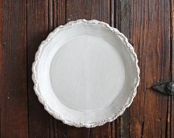 Baroque Stoneware Salad Plate, Rustic White Salad Plate with Floral Detailing, French Dinnerware Plate,