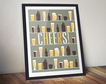 Cheers Beer and Coffee Print, Great Guy Gift, Man Cave Wall Art, Bar Art, Wall Art Home