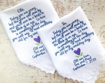 Embroidered Wedding Handkerchief Monogrammed custom 2 flowergirl wedding handkerchiefs