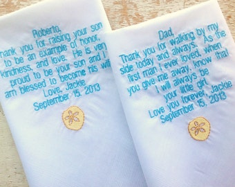 Dad and Father in Law wedding handkerchiefs