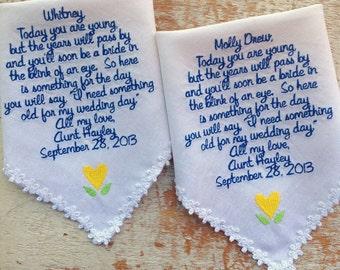 Embroidered Wedding Handkerchief Monogrammed custom 2 flowergirl hankies