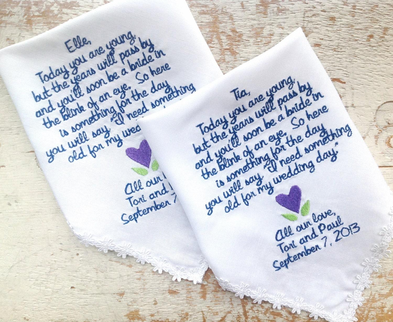 Embroidered Wedding Handkerchief Monogrammed Custom 2