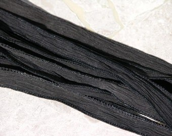 Black Hand Dyed Silk Ribbon Quantity 1, Crinkle Silk Ribbon, Strings, Hand Painted Sewn Onyx Coal Charcoal