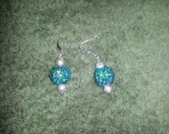 Teal Glass beads dangle earrings