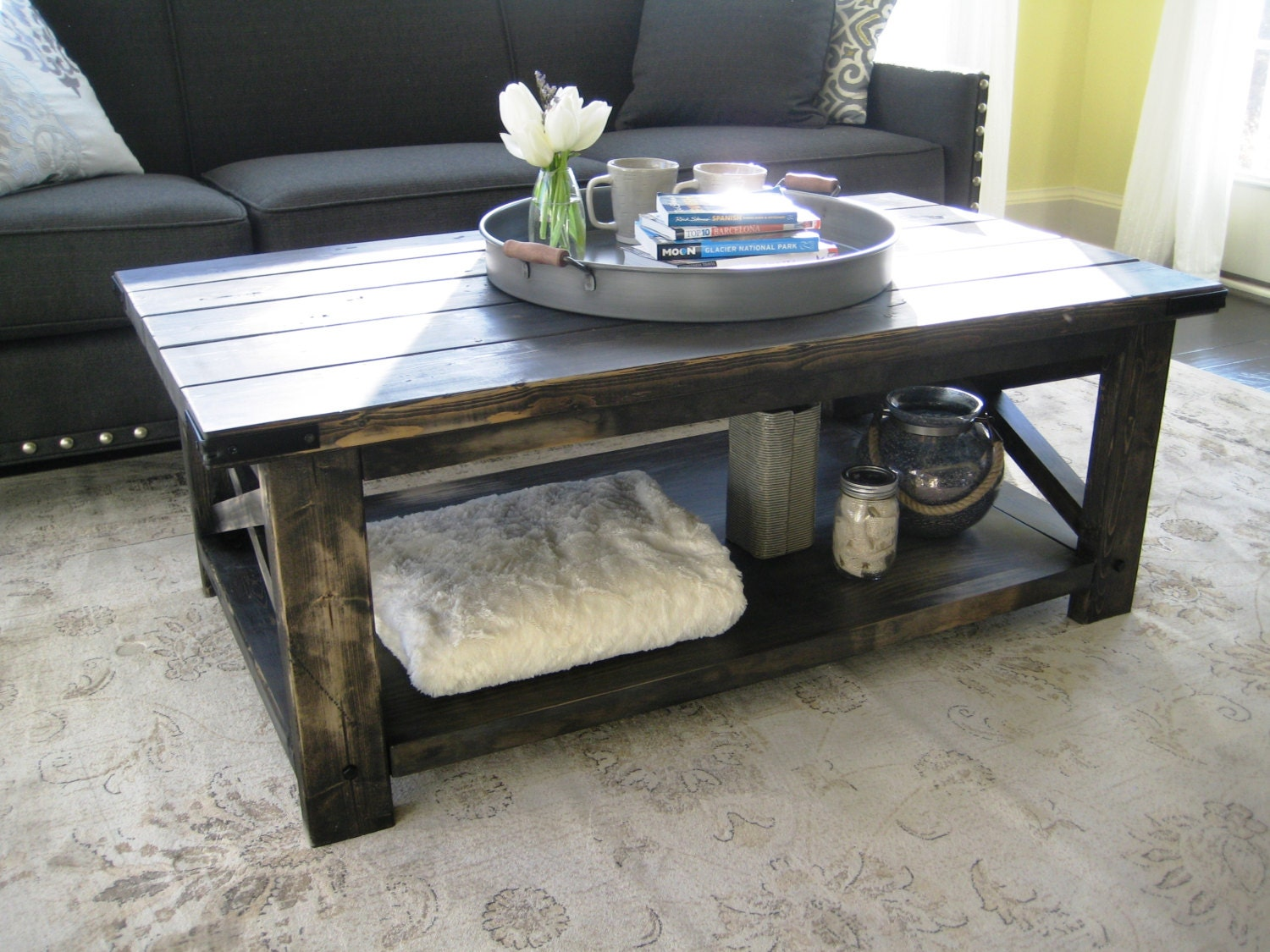 Rustic x distressed handmade coffee table weathered black Rustic black coffee table