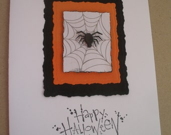 Handmade Spider in the Web Halloween Card