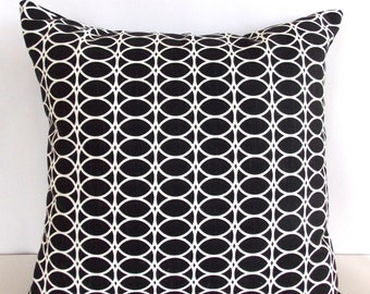 Black & White Accent  Pillow Cover -  Black and White Throw Pillow - Toss Pillow
