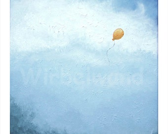 Print of an oil painting - The Orange Balloon II (13,5 x 13,5 inch)