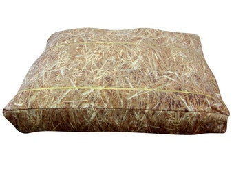 Hay rectangle dog bed. Dogzzzz tired of the same old plaids and stripes brings the rugged outdoors in makes it fun.Free shipping!