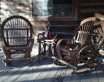 Matching pair of willow rockers and end table
