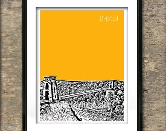 Bristol Art Print Poster A4 Size Clifton Suspension Bridge UK England