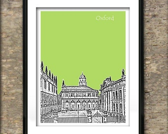 Oxford Art Print Poster A4 Size Oxford University Sheldonian Theatre Building England