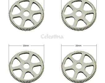 10 x Tibetan Silver Cog Wheel Charms - Watch Parts Gears - Victoriana Steampunk Charms - LF 20mm - TS331