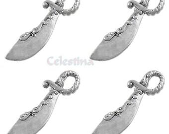 20 x Tibetan Silver Sword Sabre Scimatar Medieval Charm - Pirate Pendant - TS339
