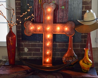 Marquee Letter, Lighted Metal MARQUEEE SIGN, Marquee Letter Sign,  Marquee Light Fixture: Inspired Cross