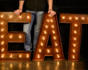 36 eat letter eat sign cafe sign lighted metal marquee sign marquee light marquee letter fixture vintage style cafe eat sign 36