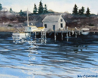 """Maine Inlet /Fishing Boat, Watercolor Limited Ed. Print Double Matted 11"""" x 14"""", art, seascape"""