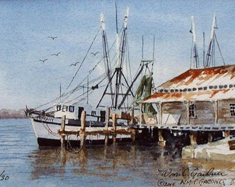 "Watercolor Limited Ed. Print - Shrimp Boat Amelia Island Fla. Matted 8"" x 10"", art , painting, ships"