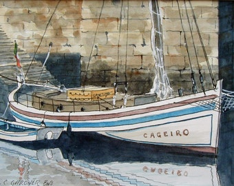 """Original Watercolor Painting, Boats - Brittany, France - matted to 11"""" x 14"""" art, seascape, travel"""