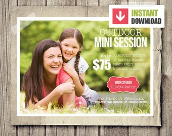 Outdoor Mini Session Board for Photographers - INSTANT DOWNLOAD - Outdoor Blog Marketing Board - Photography Template PSD