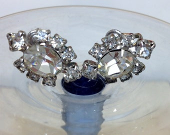 Sparkling 1950's Rhinestone Statement Earrings, Screw On Back, Vintage