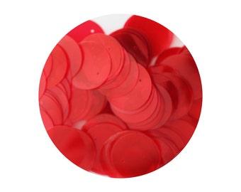 Sequins Round 20mm Flat Red Neon Fluorescent See-thru Transparent Loose Paillettes