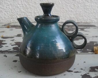 Vintage blue glazed ceramic tea pot ,Israel 1980s