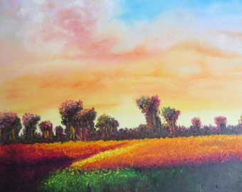 "Sunny Field, Original Painting, Oil on Canvas, 30""x30"". Two purchasing options at two different prices available."