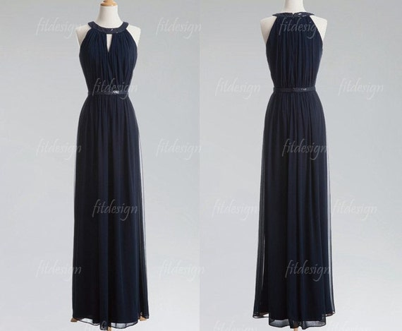 navy blue bridesmaid dress, long bridesmaid dress, chiffon bridesmaid dress, navy blue prom dress, long prom dress, 1400231