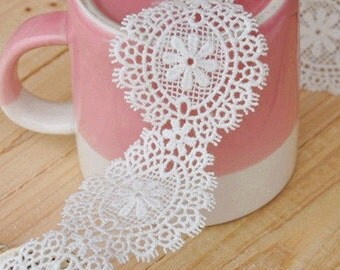 "Lace Trim White Cotton Round Shape Lace Fabric Wedding Fabric 1.97"" width 2 yards"