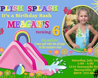 Water Slide Birthday Invitation with Photo /  pool party  You Print  Digital File waterslide invitation