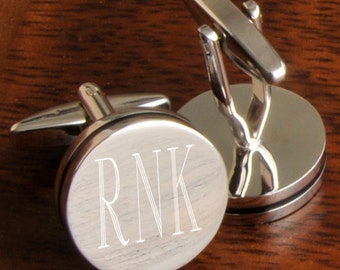Engraved Groomsmen Gifts, Personalized Pin Stripe Cufflinks Monogram Custom Cuff Links