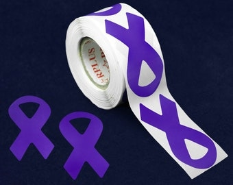Large Violet Ribbon Stickers - 250 Stickers (ST-02-27)
