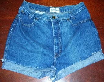 Vintage 1980's Calvin Klein High Waist Cut off shorts Size 12 smaller vintage women size  Made in USA.