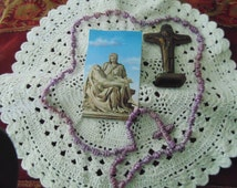 Sorrowful Mother Hand Dyed Cord Rosary Holy Card in English