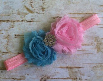 Pink and Aqua Shabby Rosette Headband