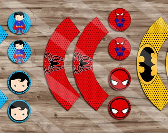 Superhero Birthday Cupcake Toppers & Wrappers, Superhero Pop Art, Cupcake Toppers, Cupcake Wrappers - Digital JPG Files, INSTANT DOWNLOAD