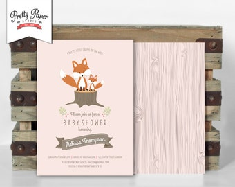 Woodland Baby Shower Invitation // Woodland Fox Invite // Baby Girl // Pink // Little Lady // Baby Fox // Wood // Printable Digital BS02