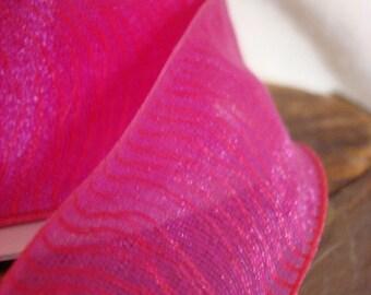 Ribbon Hot Pink Ribbon, Sheer Ribbon , Hot Pink, Wire Edge Ribbon 3 yards