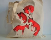 foxes - hand screen printed tote bag