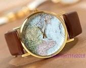 Big Sale Off, World Map Watch Unisex Watches Fashion Watch Mens wristwatches Women Watches Boyfriend Gift The best Gift  Watch-W001