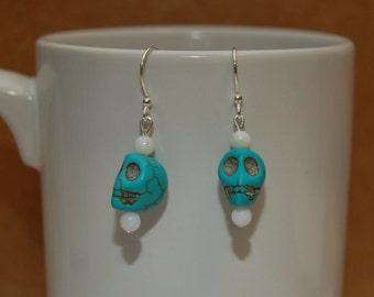 Halloween Turquoise Skull Beaded Earrings.